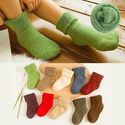 5 Pairs Lot Baby Kids Boys Girls 90%Wool Cashmere Thick Warm Kids Socks 3-12Y