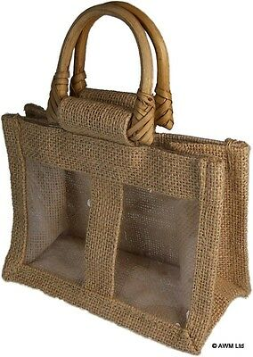 2 X Small Two Jar Jute Gift Bag With Handles And Window For Any Occasion