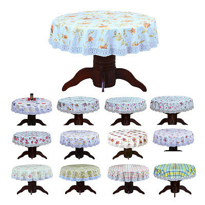 PVC Pastoral round table cloth waterproof Oilproof plastic pad plus velvet WS