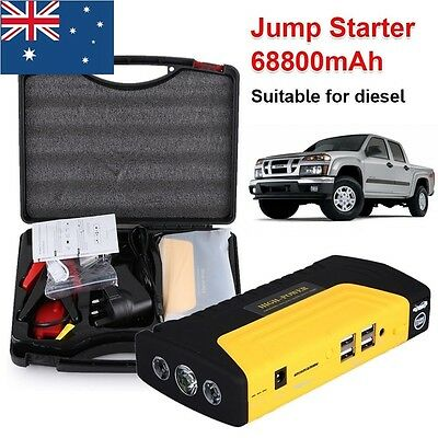 AU Portable 68800mAh Power Bank Vehicle Car Jump Starter Pack Auto Booster 4 USB