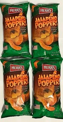 903351 4 x 198.5g BAGS OF HERR'S JALAPENO POPPERS - CHEESE CURLS! - USA