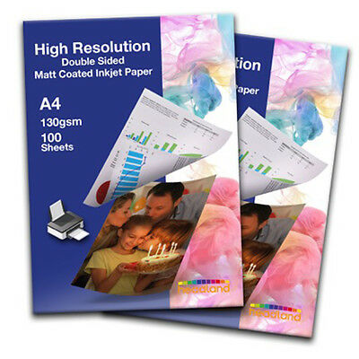 100 Sheets A4 High Resolution Double Sided Inkjet Photo Paper 130gsm Smooth Matt