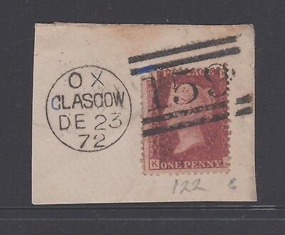 Scotland Gb 1872 Qv 1D Penny Red On Piece Fine Used Cancel  (Nb1)