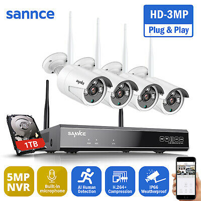 SANNCE 720P Wireless 4 Channel NVR WIFI Home CCTV Surveillance Camera System 1TB