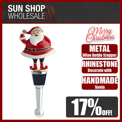 100% Genuine! Jolly Metal Wine Bottle Stopper with Rhinestones Santa Christmas!