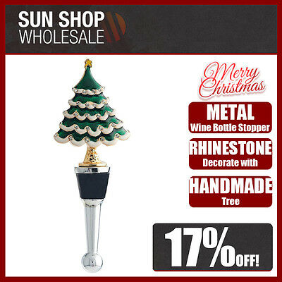 100% Genuine! Jolly Metal Wine Bottle Stopper with Rhinestones Christmas Tree!