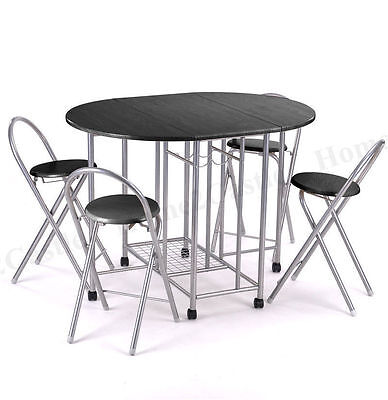 Dining Table and 4 Chairs Set Black/Oak  Kitchen Folding(Optional) Family Get