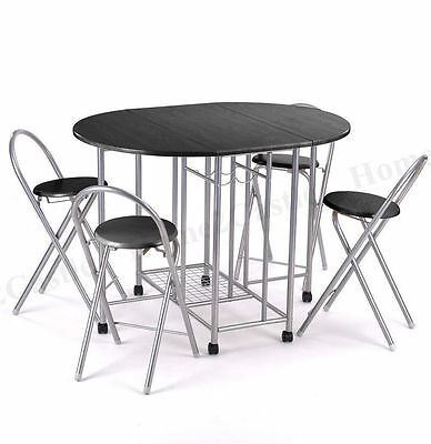 Dining Table and 4 Chairs Set Black or Beech  Kitchen Stacking Folding Multi