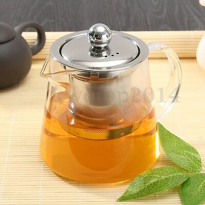 450ml Clear Teapot Heat-Resisting Glass Handcraft Tea Coffee With Infuser Filter
