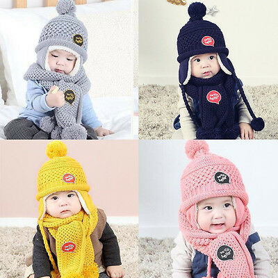 Baby Boy Girls Child Kids Winter Warm Knit Earmuff Pom Bobble Hat+Scarf 2PCS Set