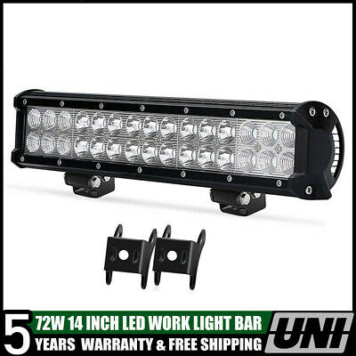 1X 72W 14 Inch Led Work Light Bar Combo Bumper Jeep Atv Boat 4X4 Offroad Ford