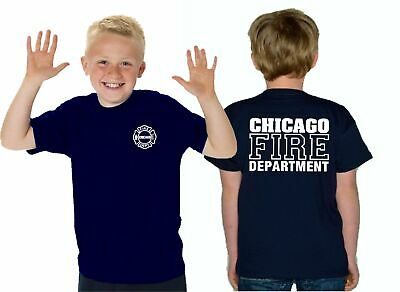 Kinder T-Shirt navy, CHICAGO FIRE DEPT., in weiss