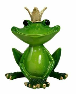 "4.5"" Height Kiss A Frog Prince Green Toad with Crown Decorative Figurine Statue"