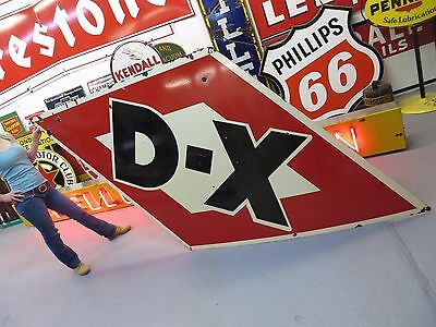 DX 1950's Gasoline Oil porcelain Sign Advertising Gas Station Auto Nostalgia BIG