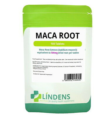 Lindens Maca Root Extract 500mg 100 Tablets Lepidium Meyenii Natural Supplement