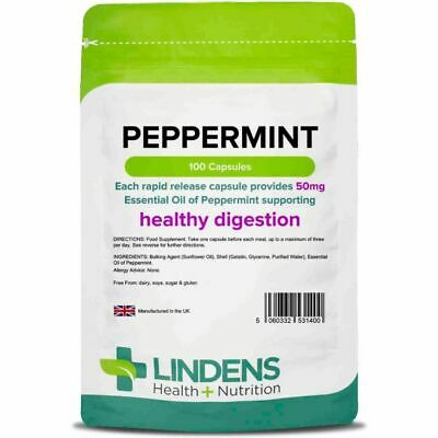 Lindens Essential Oil of Peppermint DOUBLE PACK 200 Capsules 50mg Rapid Release
