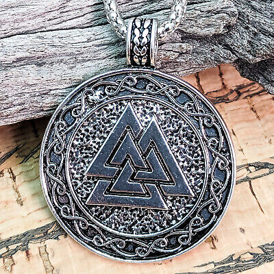Antique Silver Viking Valknut With Brown Cord Pendant Necklace