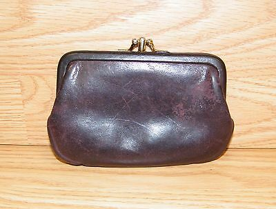 Vintage Coach Burgundy / Wine Double Kiss Lock Coin Purse / Pouch Only **READ**