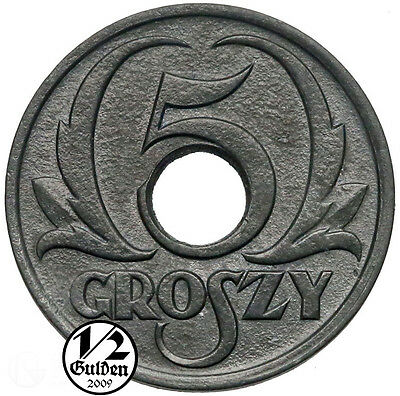 POLAND 5 Groszy 1939 General Government Coin Numishop