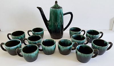 Blue Mountain Pottery BMP Canada Red Clay Coffee Pot and 12 Cups set Drip Glaze