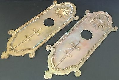 "Antique Bronze Door Plates Matching Set Large Heavy Multi Piece 16.5""  AP1054"