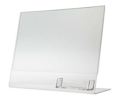 """25 Acrylic 11"""" x 8-1/2"""" Slanted Sign Holders with Business Card Holder"""