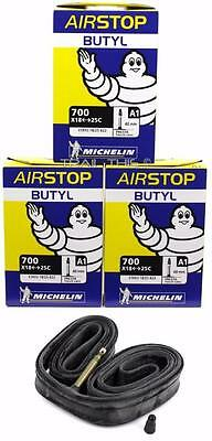 Two Michelin Airstop Butyl Road Bicycle Tubes 700x18-23-25 52mm Presta 700c 2