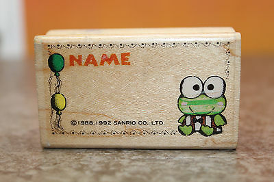 Kerokero Keroppi Wooden Frog Rubber Stamp Name Sanrio Japan Vintage 1988 1992