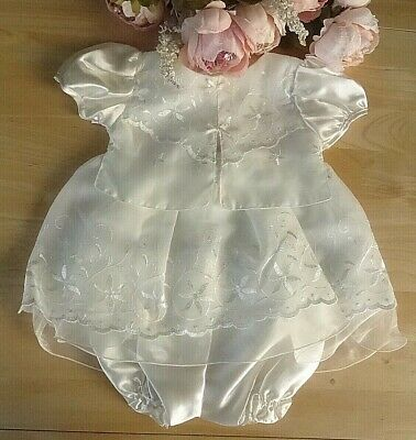 3pcs Baby Girl Cream Satin Lace Embroidered Occasion Dress Bloomers Hat Set 6m