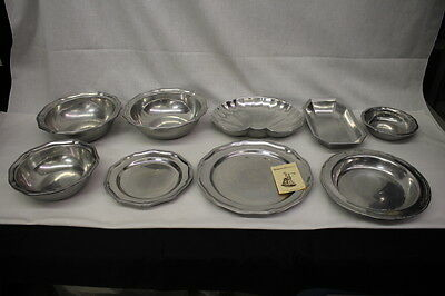 Lot of 9 Assorted WILTON ARMETALE Queen Anne PEWTER Bowls, Plates & Dishes