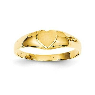 14k Yellow Gold Child's Baby Heart Signet Ring