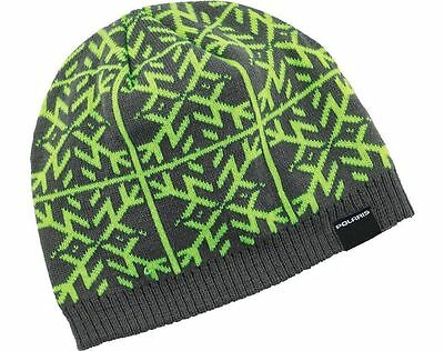 OEM Polaris Racing Grey & Lime Snowflake Knit Beanie Winter Hat 2866194
