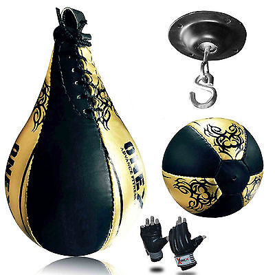 MMA Pro Boxing Speed Ball & Swivel Cut Finger Gloves Training Synthetic Leather