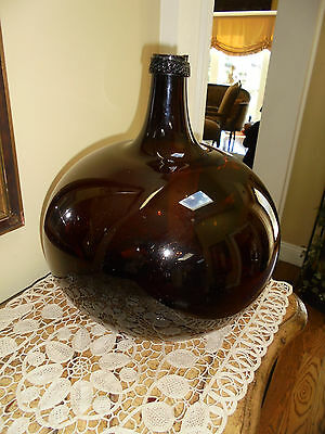Antique 19thc Hand Blown Brown Amber Glass French Demijohn ca 1820