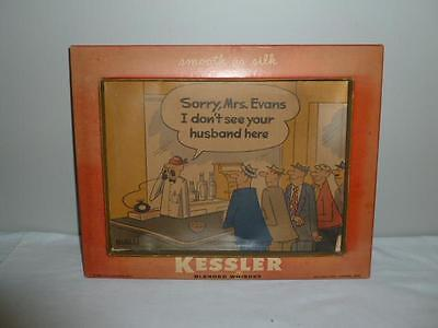 Vintage Kessler Blended Whiskey Cardboard Advertising Sign Shadow Box-BL