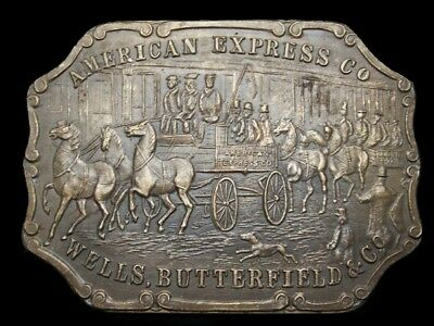 Ll03103 Vintage American Express/wells, Butterfield Solid Brass Fantasy Buckle