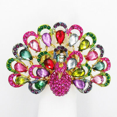 Peacock Bird Finger Cocktail Stretch Ring Costume Jewelry Rhinestone Multi-color