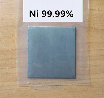 99.99% Pure Nickel Ni Metal Thin Sheet Plate 1mm x 100mm x 100mm Electroplating