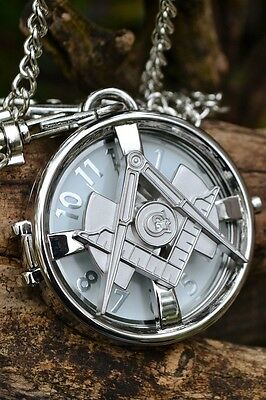 Masonic Square and Compasses Pocket Watch Chain - Spin Top - Mason - Freemasons