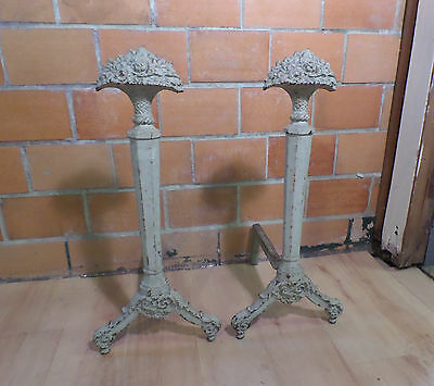 Rare Antique Art Deco Cast Iron Painted Flower Basket Fireplace Hearth Andirons