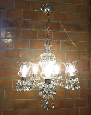 Vintage Mid Century Hollywood Regency Crystal 5 Arm Chandelier Ceiling Fixture