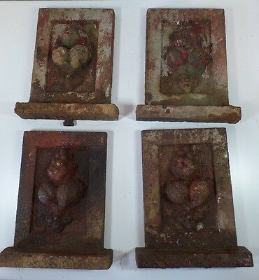 Antique Victorian Cast Iron Architectural Fireplace House Ornament Panel Plaque