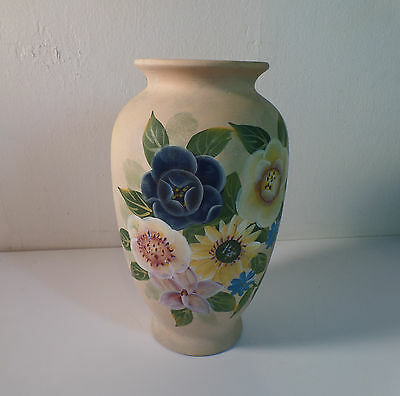 Vintage Hand Painted Pottery Sunflowers Flowers Shabby Floral Country Chic Vase