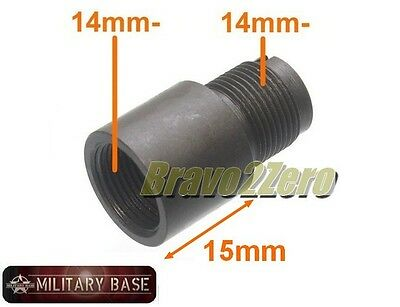 15mm Barrel Extension Adapter for Airsoft AEG GBB GBBR (14mm CCW thread)