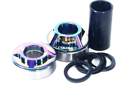 Colony BMX 19mm Mid Bottom Bracket Set - Rainbow Oil Slick Jet Fuel BB Bike Kit
