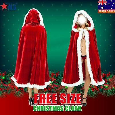 Christmas Santa Hooded Cape Cloak Christmas Party Velvet Costume Cosplay Winter