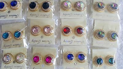 Joblot of 12 pairs Mixed colour Crystal Diamante STUD Earrings - NEW Wholesale