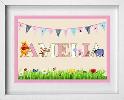 BABY NAME | Personalised Nursery Picture | Winnie the Pooh | FREE POST | (NP121)