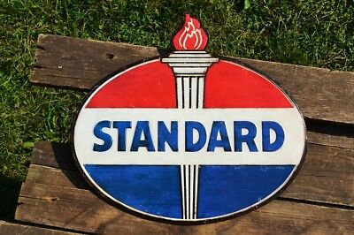 Standard Oil Co. Embossed Tin Metal Sign -  SOCONY - Gasoline - Retro - Vintage