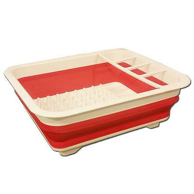 New The Kitchen Shop Foldable Collapsible Camping Dish Drainer Red & White